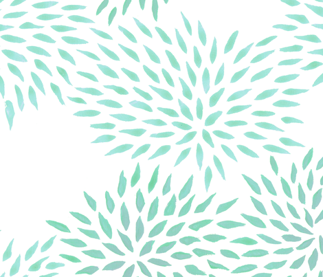 Summer Mums in jade fabric by domesticate on Spoonflower - custom fabric