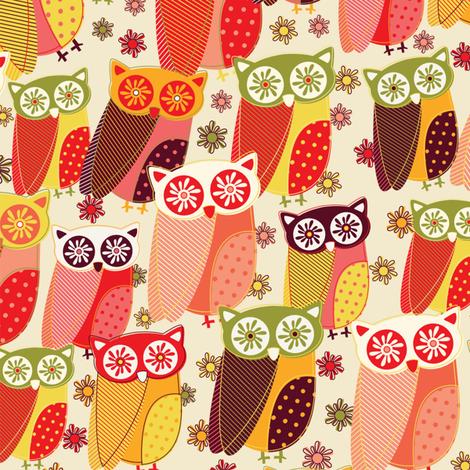 Owls Parade fabric by mandakay on Spoonflower - custom fabric
