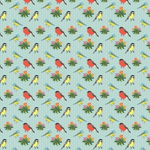 Birds and roses (robin egg blue)