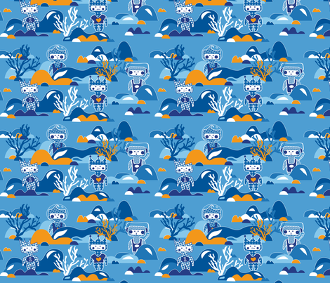 Underwater dolls fabric by rhubarbdesign on Spoonflower - custom fabric