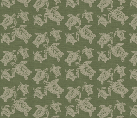 Lagerhead Turtles on Green Burlap fabric by retrofiedshop on Spoonflower - custom fabric