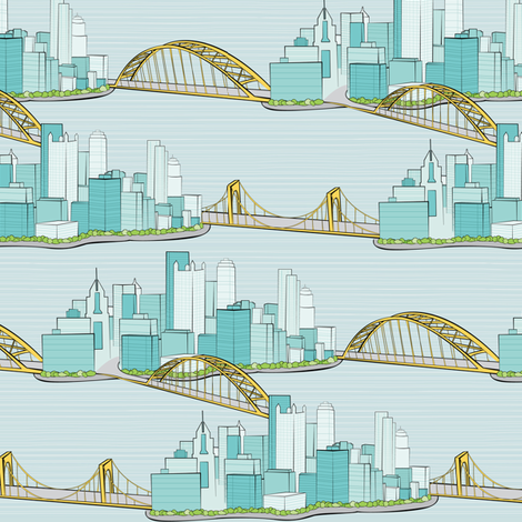 Pittsburgh City of Bridges | Smaller Print fabric by wildnotions on Spoonflower - custom fabric