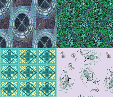 Foursquare, bluegreen fabric by nalo_hopkinson on Spoonflower - custom fabric