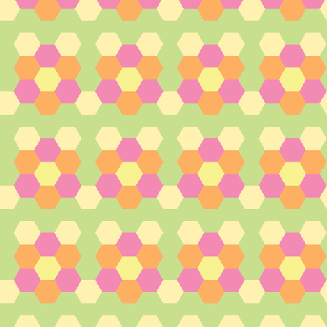 Spring Hexagonal - Light fabric by owlandchickadee on Spoonflower - custom fabric