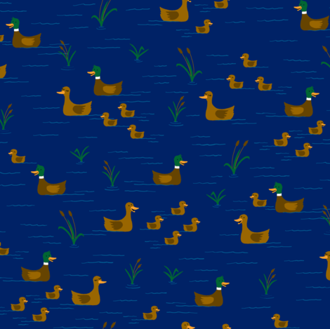 Ducks in a Pond fabric by sheena_hisiro on Spoonflower - custom fabric