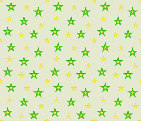 Green and Yellow Stars (small) fabric by jabiroo on Spoonflower - custom fabric