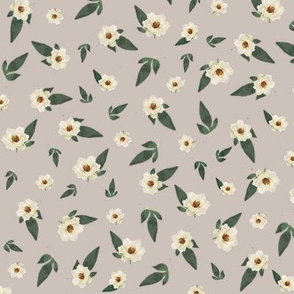 Ditsy Magnolias on Grey