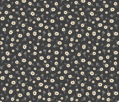 Ditzy Magnolias on Grey fabric by jabiroo on Spoonflower - custom fabric