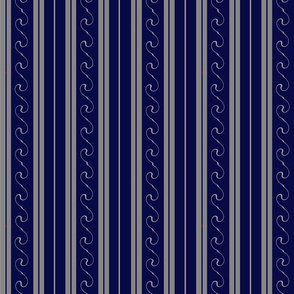 Grey Stripes on Blue
