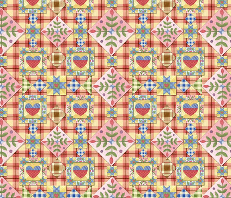 Homespun Heart Patchwork by Patricia Shea fabric by patricia_shea on Spoonflower - custom fabric