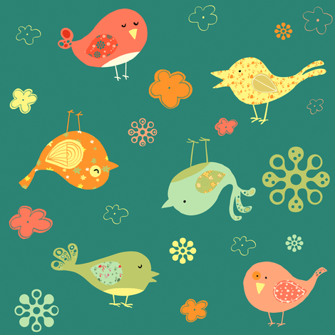 Birds on teal fabric by sheena_hisiro on Spoonflower - custom fabric
