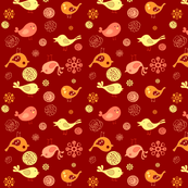 Birds on red