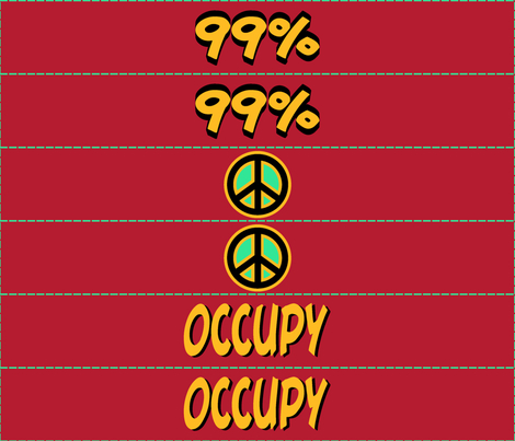 protest arm bands: peace and occupy in red fabric by georgeandgracie on Spoonflower - custom fabric