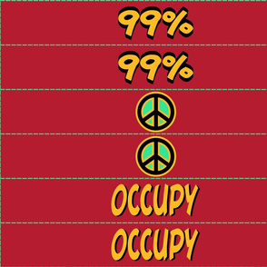 protest arm bands: peace and occupy in red