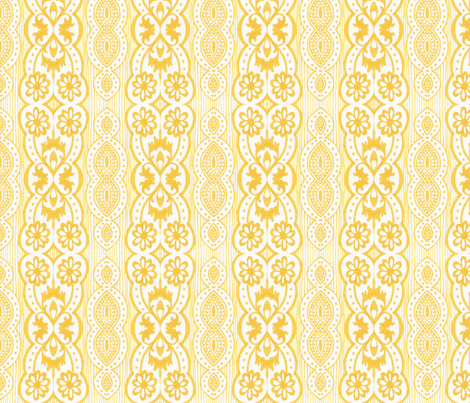 Yellow Daisy Stripe fabric by siya on Spoonflower - custom fabric