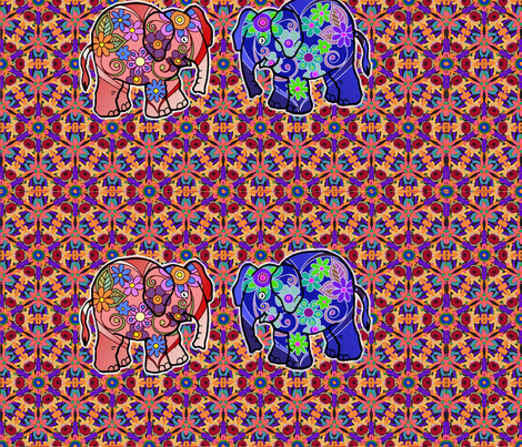 colorful_kaleidoscopic_mosaic_elephants fabric by vinkeli on Spoonflower - custom fabric