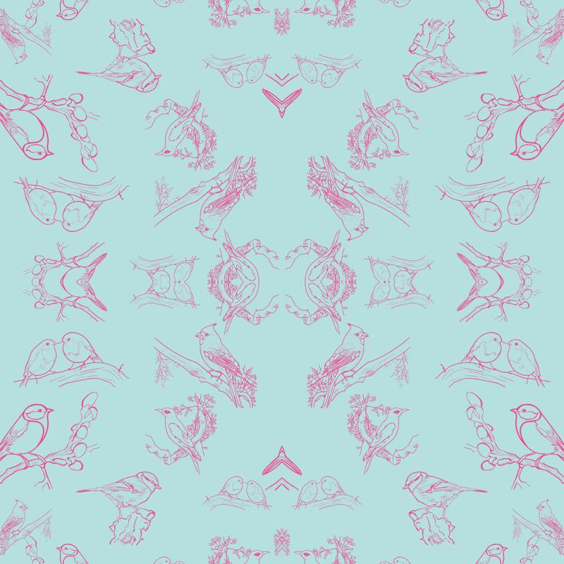 Turquoise Bird Wallpaper Bird Toile Turquoise Pink