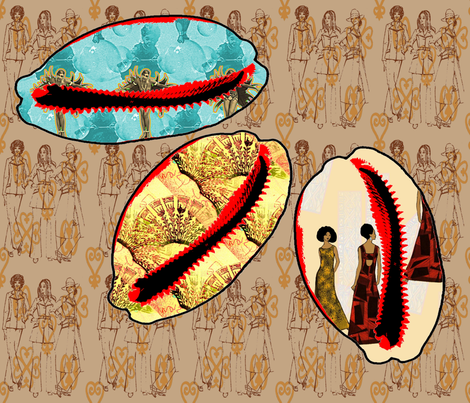 Foursquare, three cowries fabric by nalo_hopkinson on Spoonflower - custom fabric