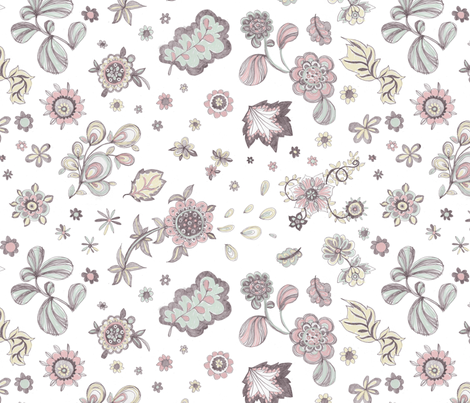 Pencil Flowers  fabric by teja_jamilla on Spoonflower - custom fabric