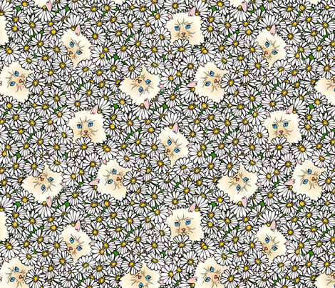 kitty in the flower bed fabric by hannafate on Spoonflower - custom fabric