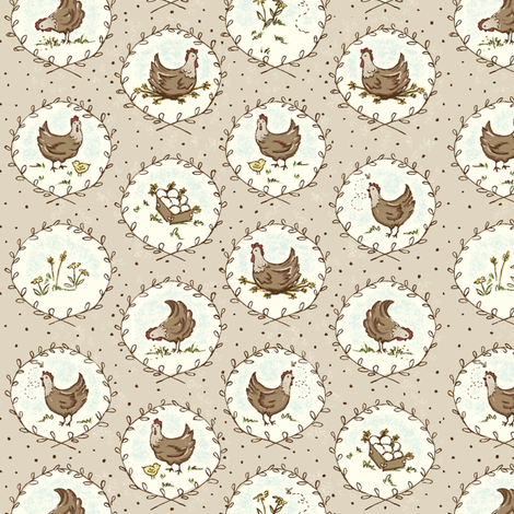 Chicken_Cameos_beige fabric by stacyiesthsu on Spoonflower - custom fabric