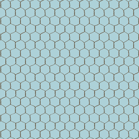chicken_wire_cream_blue fabric by stacyiesthsu on Spoonflower - custom fabric
