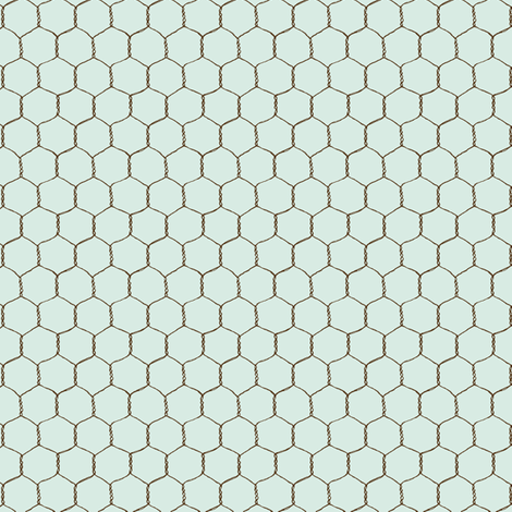chicken_wire_cream_lt_blue fabric by stacyiesthsu on Spoonflower - custom fabric