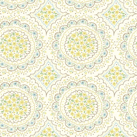 floral_circles_cream fabric by stacyiesthsu on Spoonflower - custom fabric