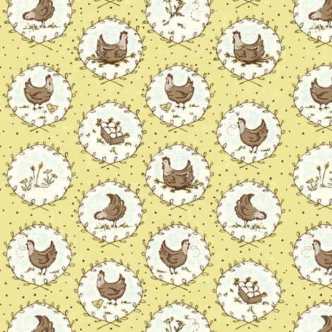 Chicken_Cameos_yellow fabric by stacyiesthsu on Spoonflower - custom fabric