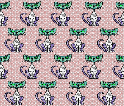 Foursquare, cattish fabric by nalo_hopkinson on Spoonflower - custom fabric