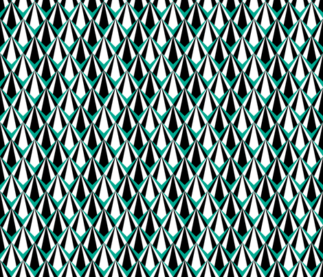 Deco Geometric Teal Medium fabric by modgeek on Spoonflower - custom fabric