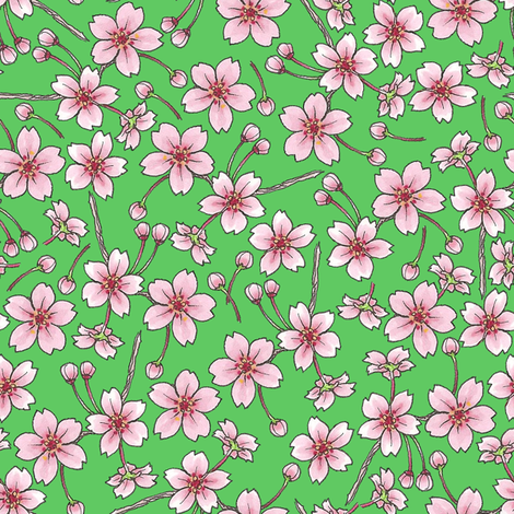 Sakura - Green fabric by siya on Spoonflower - custom fabric