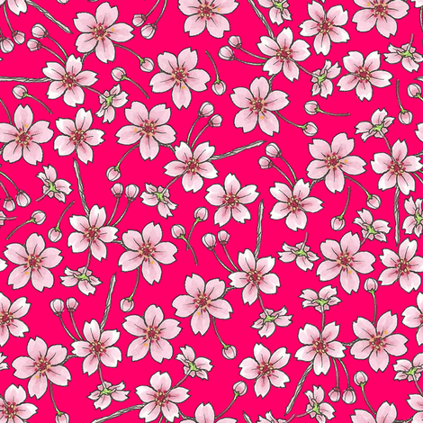 Sakura - Red fabric by siya on Spoonflower - custom fabric