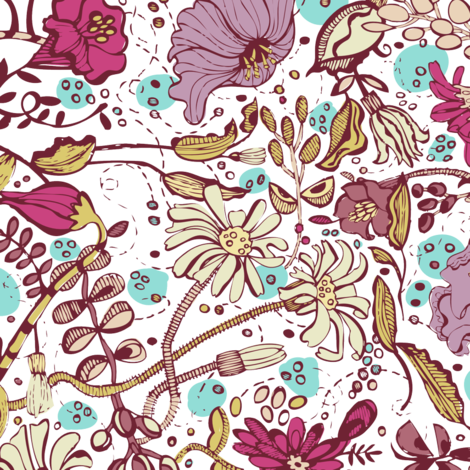 Garden O' Plenty- Purple Red Colorway fabric by gsonge on Spoonflower - custom fabric