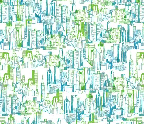 NYC Cityscape fabric by mandakay on Spoonflower - custom fabric