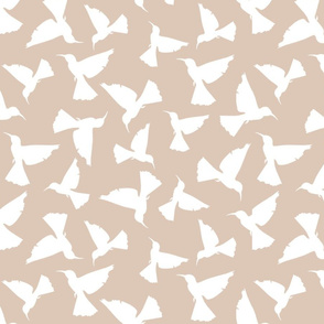 Hummingbird Silhouettes - White on Tan
