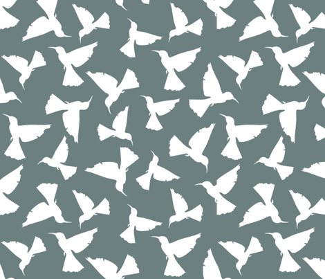 Hummingbird Silhouettes - White on Green fabric by jabiroo on Spoonflower - custom fabric
