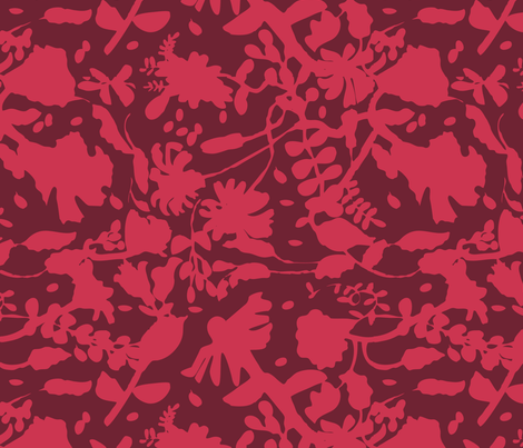 Shadows-Pink on Maroon fabric by gsonge on Spoonflower - custom fabric