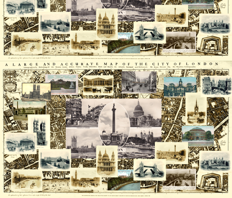 Victorian London Cityscape fabric by queeninmyownmind on Spoonflower - custom fabric