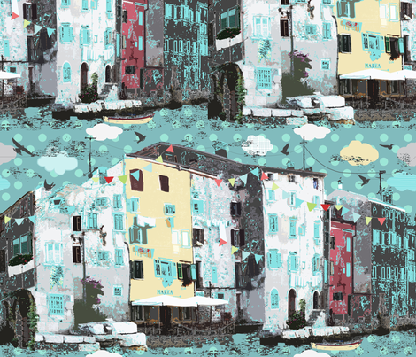 Rovinj city fabric by katarina on Spoonflower - custom fabric