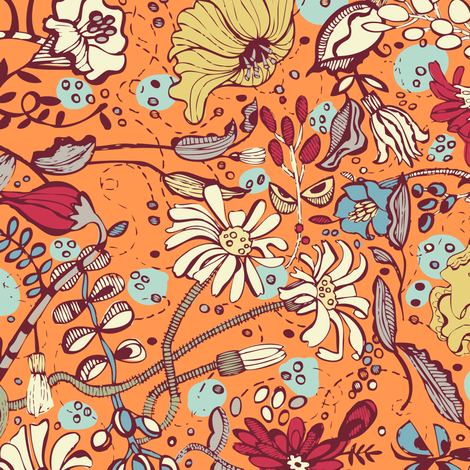 Garden O' Plenty-Orange Blue Colorway fabric by gsonge on Spoonflower - custom fabric