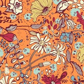 Garden O' Plenty-Orange Blue Colorway