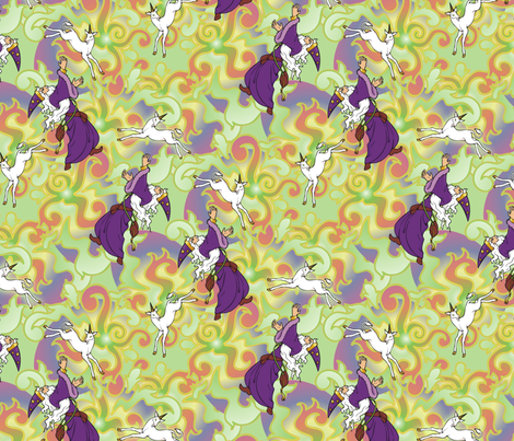 Wizard chasing a Unicorn fabric by hannafate on Spoonflower - custom fabric