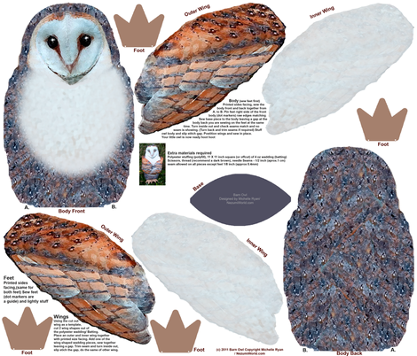 Barn Owl Plushie fabric by nezumiworld on Spoonflower - custom fabric