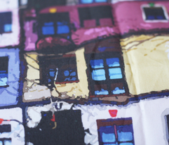 windows of the Hundertwasser's house in Vienna