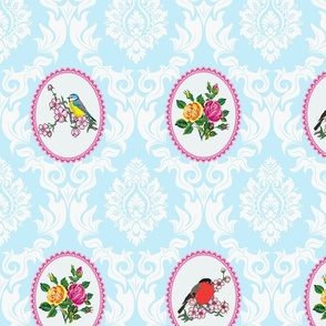 Bird Damask (baby blue)