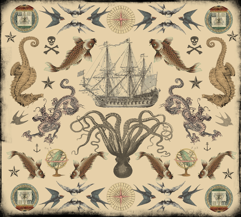 Nautical Tattoo Mandala fabric by curlycue on Spoonflower - custom fabric