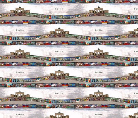 Berlin wall and Brandenburg door fabric by lucybaribeau on Spoonflower - custom fabric