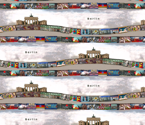 Berlin wall and Brandenburg door fabric by fantazya on Spoonflower - custom fabric