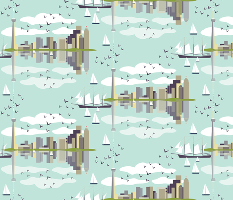 Toronto waterfront fabric by needlebook on Spoonflower - custom fabric